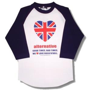 ハートのユニオンジャック/UKハートトリム/ラグラン/七分袖/ベースボールTシャツ/メンズ/レディース|alternativeclothing