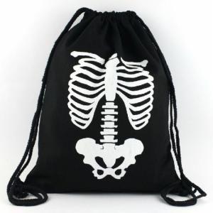 骨/ナップサック/ホネ/スケルトン/巾着/ブラック/黒/スカル/ドクロ/リュック|alternativeclothing