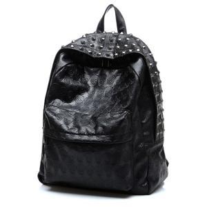 ドクロ/スタッズ/リュック/ブラック/黒/スカル/型押し/バッグ/ブラック|alternativeclothing