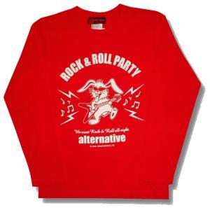 ★フライングVギター&うさぎ長袖Tシャツ(赤)|alternativeclothing