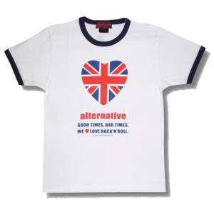 ユニオンジャック/U.K.ハート・トリムTシャツ/メンズ/レディース/プレゼント/ギフト包装/ラッピング無料|alternativeclothing