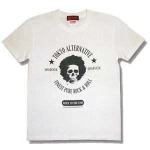 アフロ/ドクロ/スカル/Tシャツ/白/ロック/バンド/メンズ/レディース/|alternativeclothing