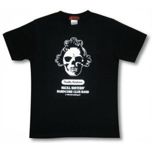 スカル姉さん/ドクロ/ハードコアクラブバンド/メンズ/レディース/Tシャツ(黒)|alternativeclothing