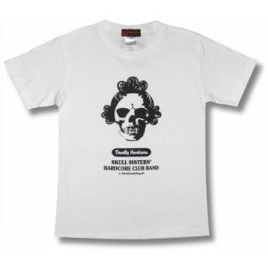 スカル姉さん/スカル・シスターズ・ハードコアクラブバンド/メンズ/レディース/Tシャツ(白)|alternativeclothing