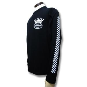 Tシャツ 長袖 チェッカー ストライプ 袖プリント ロンT  黒 ブラック 重ね着|alternativeclothing