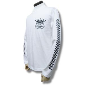 Tシャツ  長袖 チェッカー ストライプ 袖プリント ロンT 白 ホワイト 重ね着|alternativeclothing
