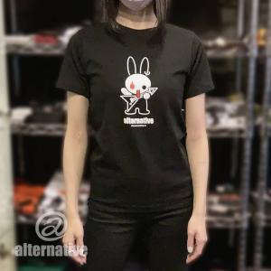 Tシャツ メタルうさぎ バニー ウサギ フライングV  動物 メンズ レディース 黒|alternativeclothing