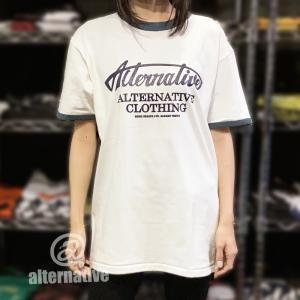 Tシャツ alternative ロゴ リンガー トリム  白×デニムブルー メンズ レディース|alternativeclothing