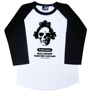 サザエさんヘアのドクロTシャツ/七分袖/レディース/メンズ/|alternativeclothing