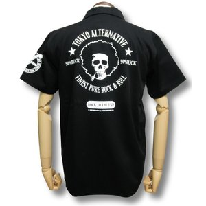 アフロスカル・ワークシャツ/メンズ/ドクロ/ブラック|alternativeclothing
