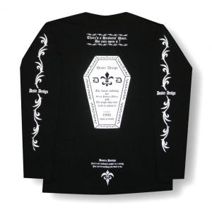 Tシャツ かんおけ 棺桶 ロンT ロック バイク 長袖  黒 Desire Design|alternativeclothing