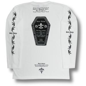Tシャツ 長袖 かんおけ 棺桶 ロンT ロック バイク 長袖  白 ホワイト Desire Design|alternativeclothing