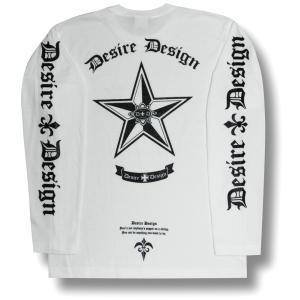 Tシャツ 長袖 ノーティカルスター 星 ロンT ロック バイク 長袖  白 ホワイト Desire Design|alternativeclothing