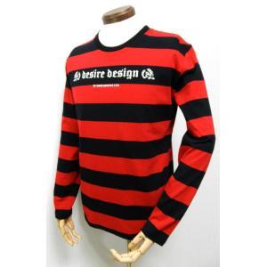 ボーダー/ストライプ/ロンT/赤×黒/長袖/Tシャツ/スカル/Desire Design|alternativeclothing