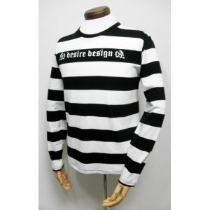 Tシャツ ボーダー ストライプ ロンT 白×黒 長袖  スカル Desire Design|alternativeclothing