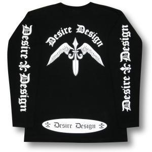 Tシャツ 翼剣 ソードウィング ロンT ロック バイク 長袖  黒 Desire Design|alternativeclothing