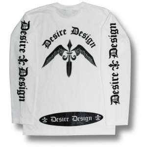 翼剣/ソードウィング/ロンT/ロック/長袖/Tシャツ/白/ホワイト/Desire Design|alternativeclothing