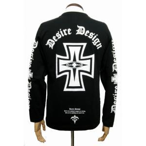 Tシャツ アイアン クロス ロンT ロック バイク 長袖  黒 Desire Design|alternativeclothing