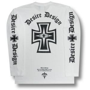 アイアン/クロス/ロンT/ロック/長袖/Tシャツ/白/ホワイト/Desire Design|alternativeclothing