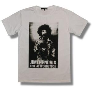ジミ・ヘンドリックスTシャツ/LIVE AT WOODSTOCK/白/メンズ/レディース/ロックTシャツ/バンドTシャツ alternativeclothing
