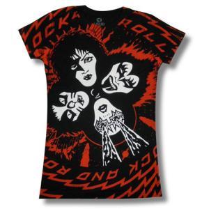 KISS/キッス/熱きレディースルーム/ロックTシャツ/バンドTシャツ/レディース/黒|alternativeclothing