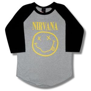 NIRVANA /ニルヴァーナ/スマイル/ラグランTシャツ/七分袖/ロックTシャツ/バンドTシャツ/メンズ/レディース|alternativeclothing