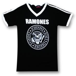 Tシャツ ラモーンズ RAMONES サッカー Vネック バンド ロック 黒 メンズ|alternativeclothing