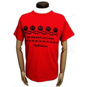 スカルハウス/5連スカル/レッド/スケルトン/ガイコツ/ドクロ/Tシャツ/メンズ/レディース/赤/半袖|alternativeclothing