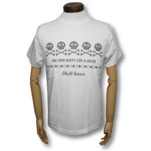 スカルハウス/5連スカル/ホワイト/スケルトン/ガイコツ/ドクロ/Tシャツ/メンズ/レディース/白/半袖|alternativeclothing