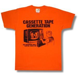 カセットテープ世代Tシャツ/キャピタルレディオワン/メンズ/レディース/オレンジ/|alternativeclothing