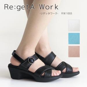リゲッタ Re:getA Work RW-1003 アシンメトリーヒールサンダル -バックベルト付き-|altolibro