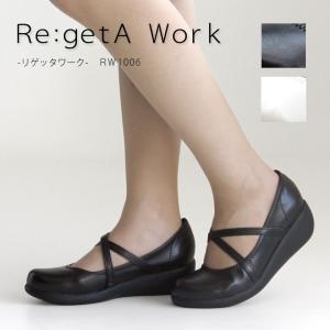 リゲッタ Re:getA Work RW-1006 クロスベルトミドルウェッジパンプス|altolibro