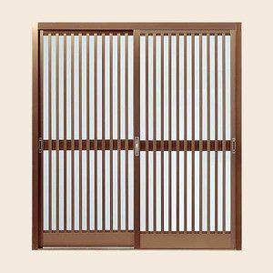 玄関引戸 菩提樹 2枚建戸ランマ無 普通枠 214型(竪繁格子) 6160 W1692*H1847 LIXIL/リクシル アルミサッシ|alumidiyshop