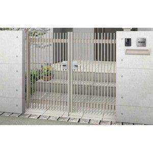 門扉 ハイ千峰 両開き型 埋込使用(柱は付属しません) 09-10 東洋エクステリア|alumidiyshop