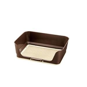 しつけ用ステップ壁付きトイレ レギュラー ダークブラウン リッチェル (分類:犬用トイレトレー)|am-netshop