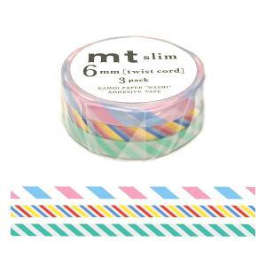 「mt slim 6mm twist cord」マスキングテープ(6mm x 10m x 3 ロール)カモ井加工紙製 amac-store