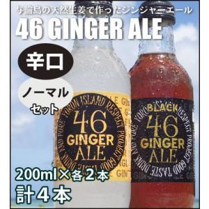 与論島の天然生姜で作ったジンジャーエール「46GINGER ALE」(辛口 200ml×2本,ノーマル 200ml×2本入り) amami