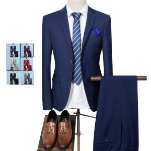 スーツ メンズ ビジネススーツ スリーピーススーツ 2つボタ...