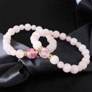 ブレスレット レディース 天然 ローズクォーツ 桜 サクラ さくら 彫り 送料無料