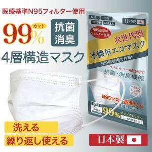 日本製 不織布エコマスク 3枚入り 洗える 繰り返し使える 国産 4層構造 男女兼用 大人用 普通サイズ PM2.5 99%カット クリーン 使い捨て|amazutsumi