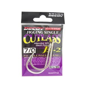 DECOY : デコイJigging Single Cutlass JS-2ジギングシングル カトラス #7/0 2本パックジギング 管付シングルフック amberjack