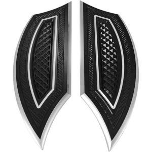 【16210201】 ドライバーフロアボード:Cross cut/ブラック ◆ハーレー◆ amberpiece