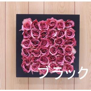 壁面造花ディスプレイF ローズピンク(人工植物 アートフレーム フラワー 花 バラ)