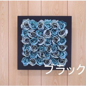 壁面造花ディスプレイE ローズブルー(人工植物 アートフレーム フラワー 花 バラ)