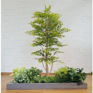 明るいトネリコとガーデニング付きのセット商品です(造花/人工観葉植物)  小さな明るい若葉色の葉っぱ...