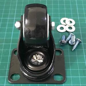 キャスター 代替車輪 車輪 木製台車用 ゴム車輪 自在キャスター 1本 タイヤ ブラック プレート式 交換 キャスター車輪 台車キャスター|amcom