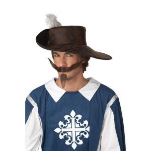 ダークブラウン 長め 口ひげ&アゴヒゲ 中世ヨーロッパ騎士【ハロウィン:ウィッグ_hw16_mk05】|amecos