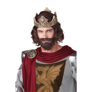ブラウン ミディアム ウィッグ、かつらと口ひげとアゴヒゲのセット キング、王様【ハロウィン:ウィッグ_hw16_mk05】|amecos