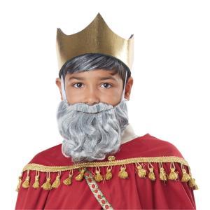 王様 シルバーグレー ウィッグ、かつら ひげセット 子供用 BIBLICAL KING WIG & BEARD/ADULT        GRAY|amecos