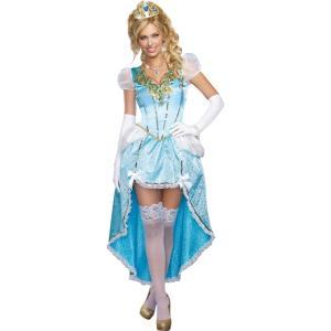 お姫様 衣装、コスチューム 大人女性用 プリンセス ブルー HAVING A BAL  シンデレラ風|amecos